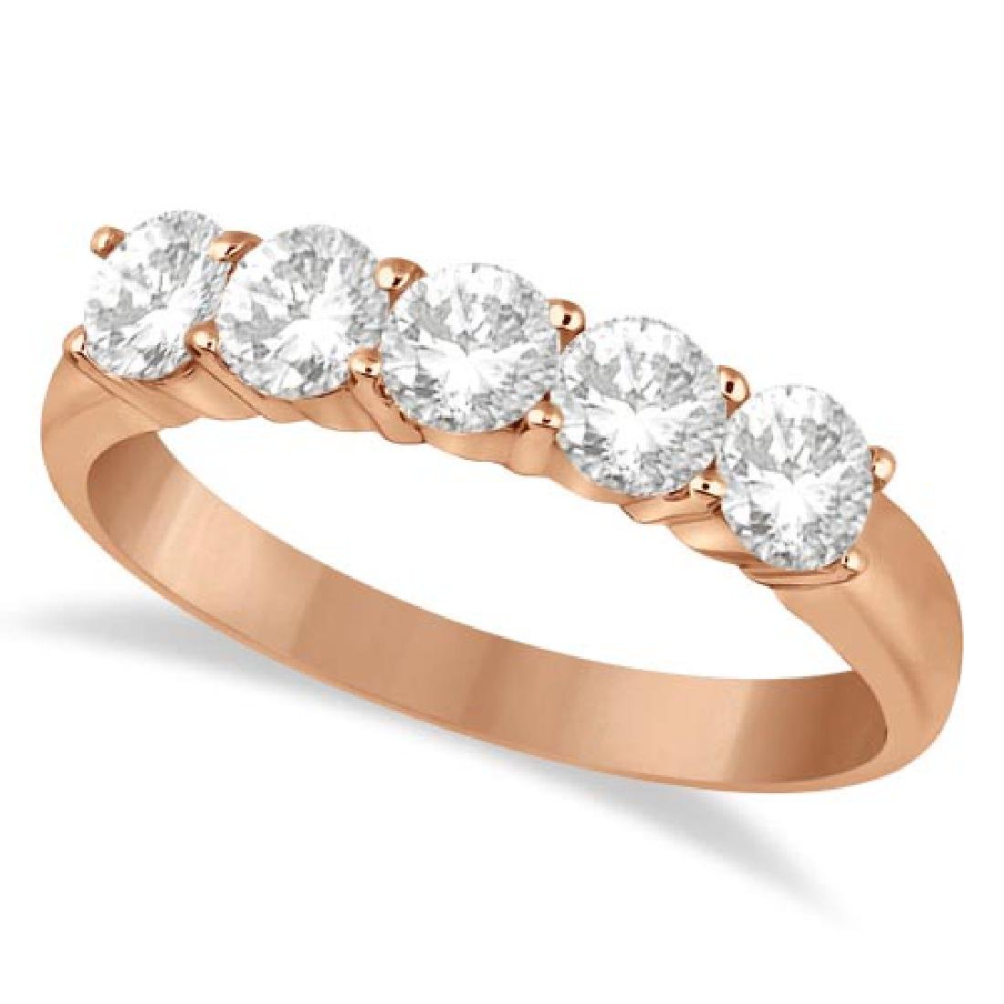 Five Stone Diamond Ring Anniversary Band 14k Rose Gold