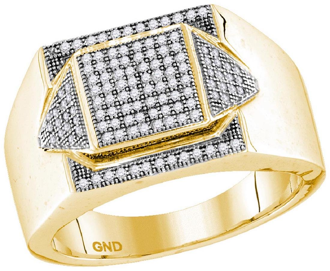 10kt Yellow Gold Mens Round Diamond Elevated Square Clu