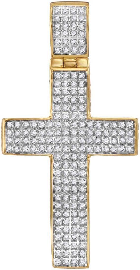 10kt Yellow Gold Mens Round Diamond Roman Cross Charm P