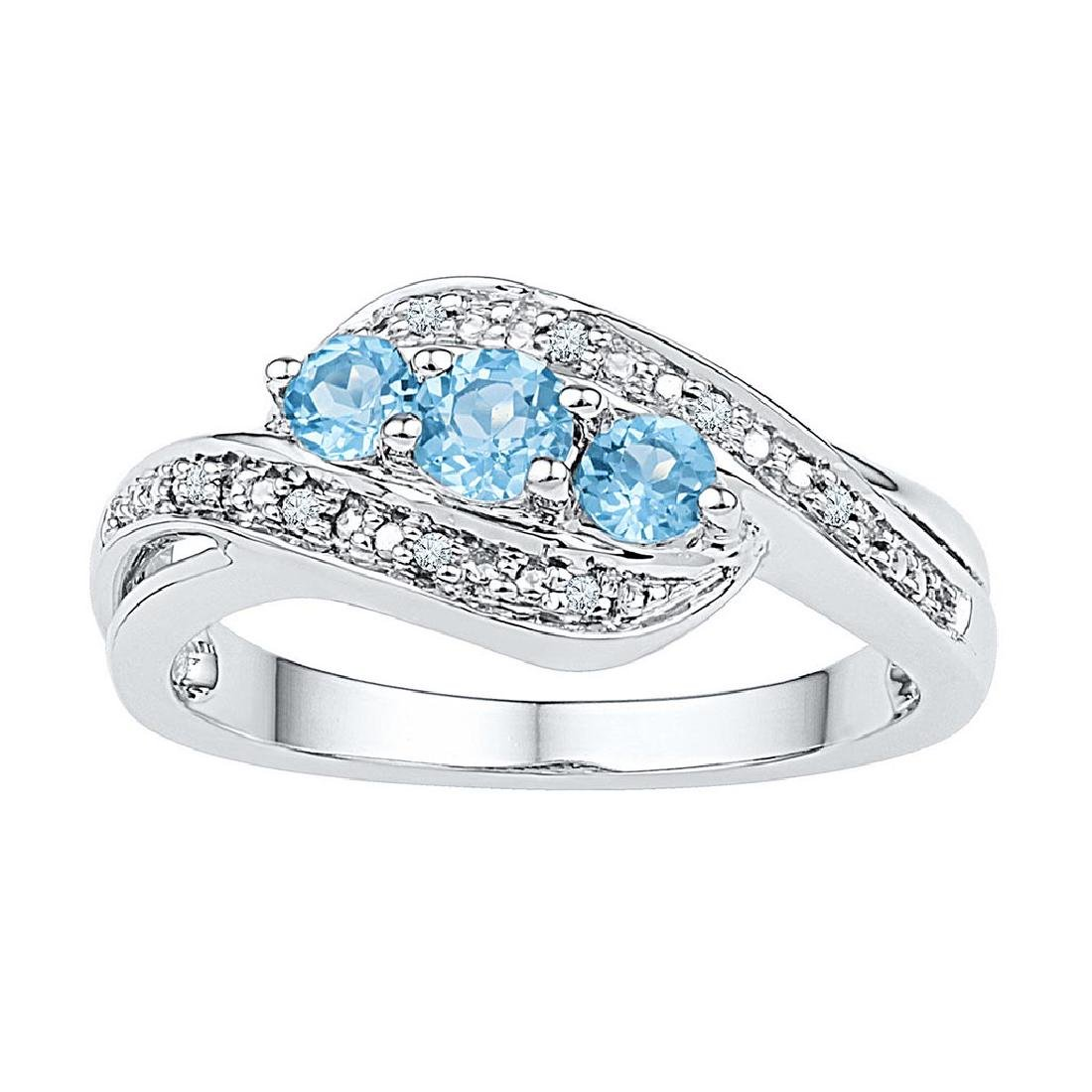 10kt White Gold Womens Round Lab-Created Blue Topaz 3-s