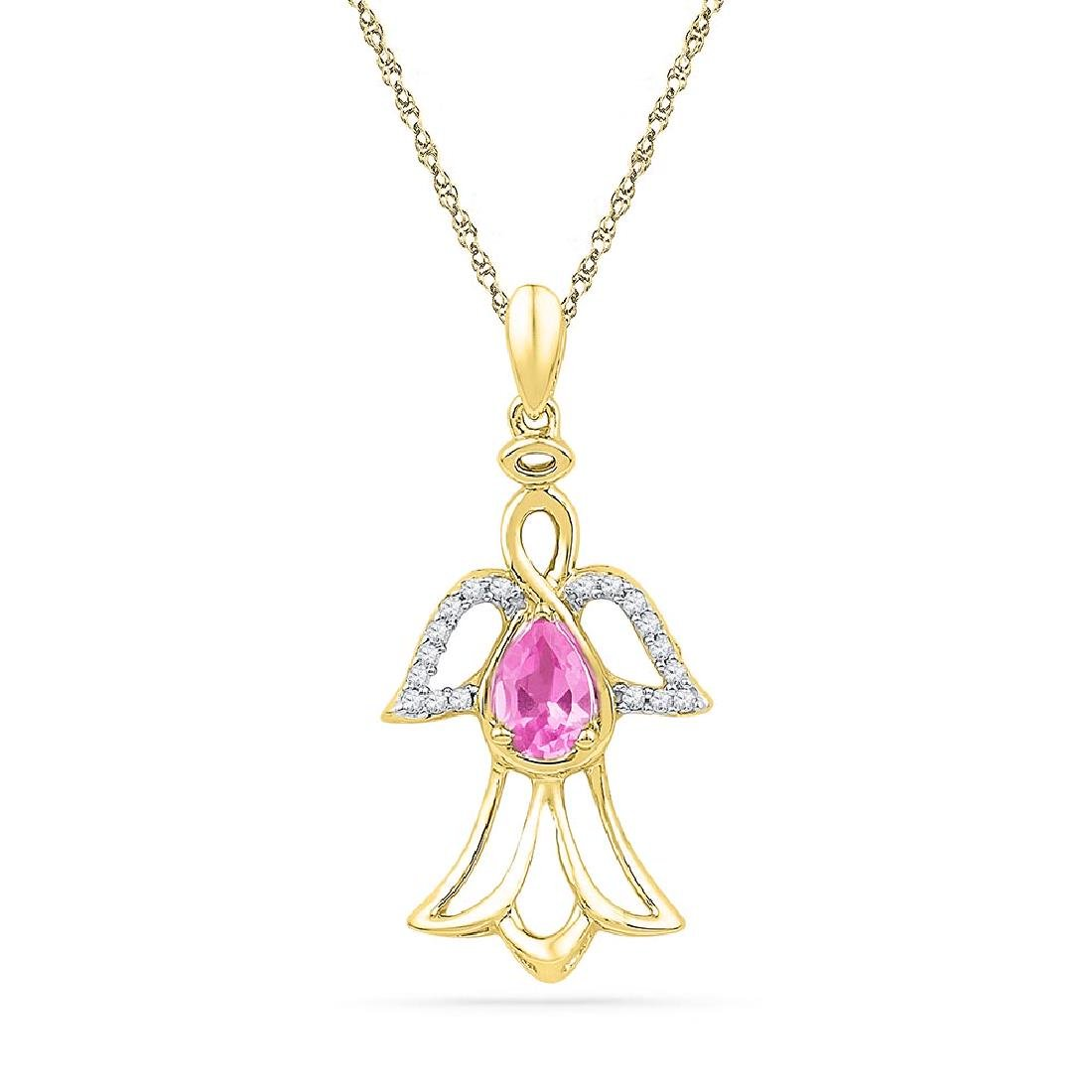 10kt Yellow Gold Womens Pear Lab-Created Pink Sapphire