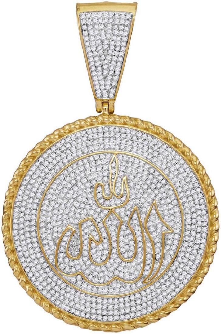 10kt Yellow Gold Mens Round Diamond Allah Medallion Cha