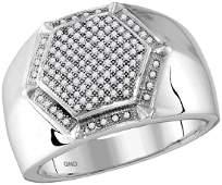 10kt White Gold Mens Round Diamond Hexagon Frame Cluste