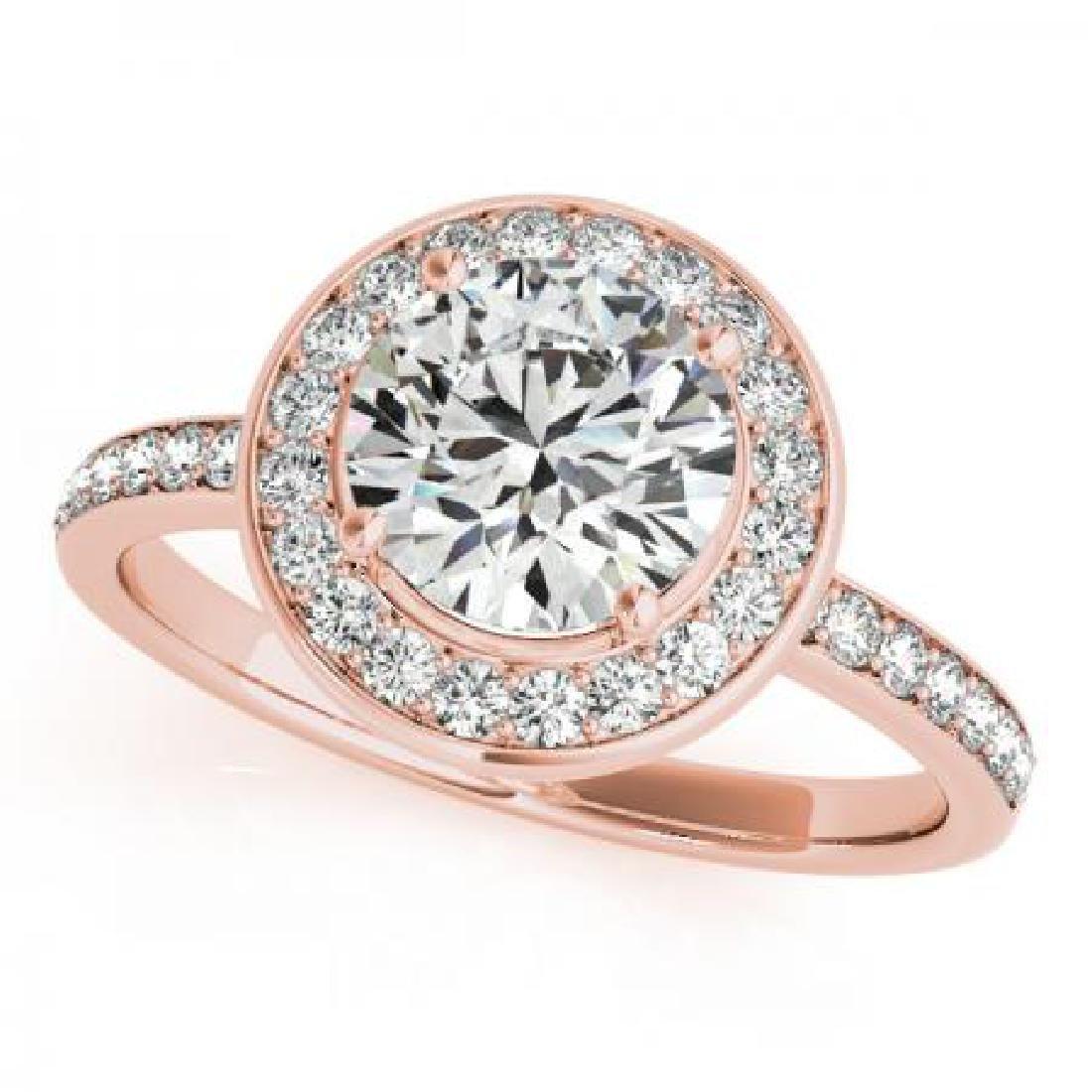 CERTIFIED 18K ROSE GOLD 1.54 CT G-H/VS-SI1 DIAMOND HALO