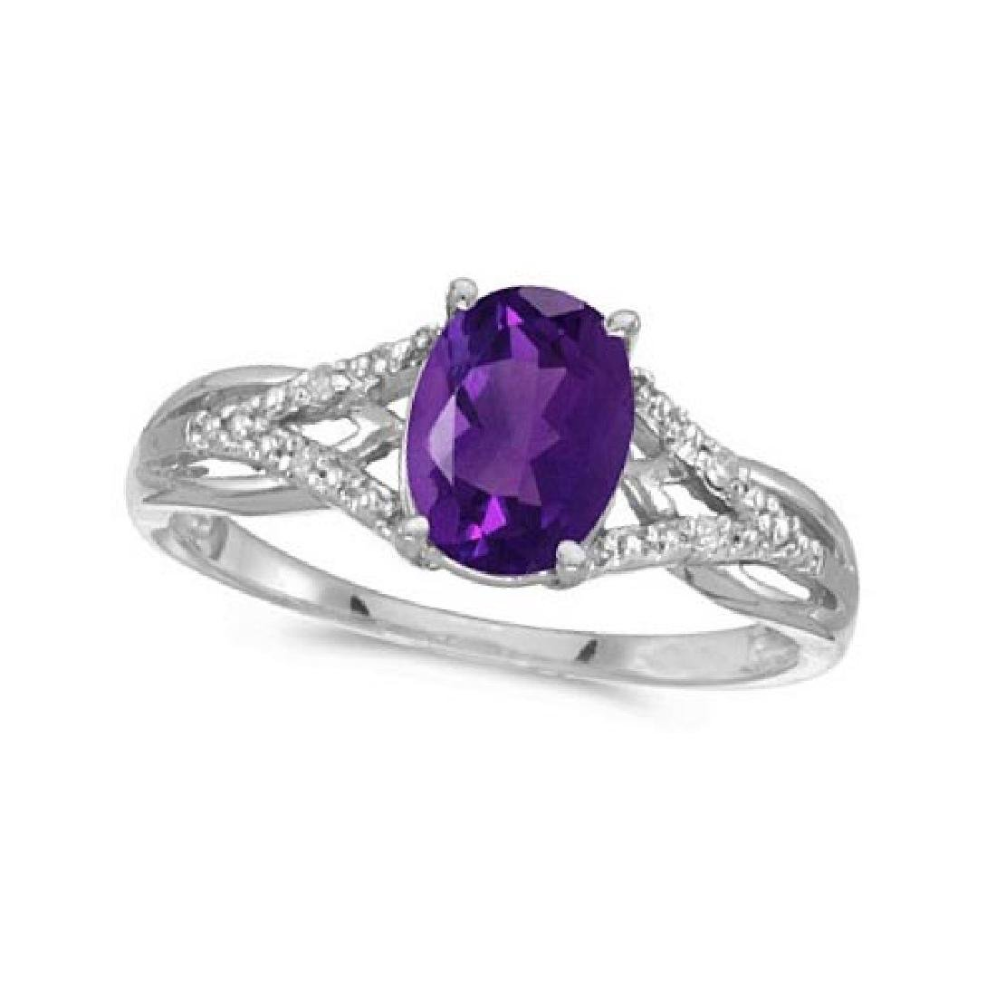 Oval Amethyst and Diamond Cocktail Ring 14K White Gold