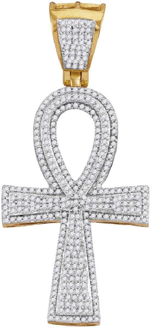10kt Yellow Gold Mens Round Diamond Ankh Flared Cross C