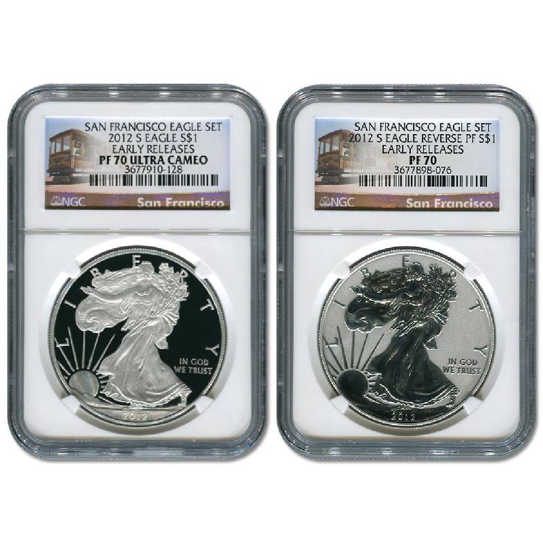 Certified 2012-S American Eagle 2pc Proof Silver Set PF
