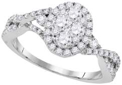 10kt White Gold Womens Round Diamond Oval Cluster Halo