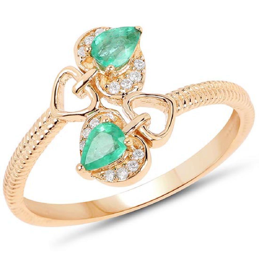 033 CTW Genuine Zambian Emerald and White Diamond 14K