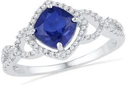 10kt White Gold Womens Princess LabCreated Blue Sapphi