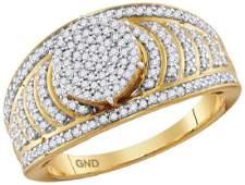 10kt Yellow Gold Womens Round Diamond Cluster Striped B