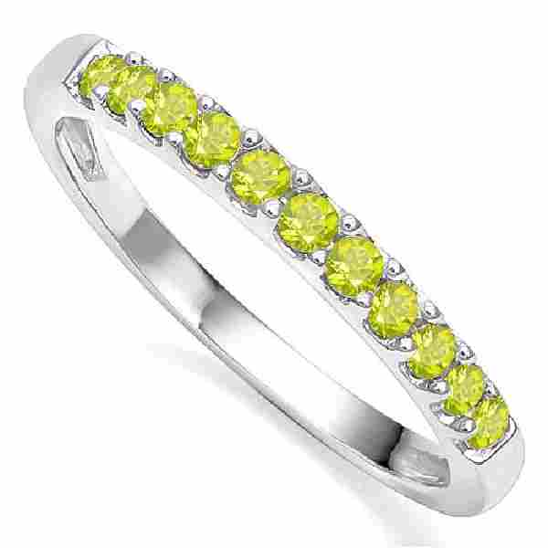 052 CTW PERIDOT 10K SOLID WHITE GOLD BRAND RING