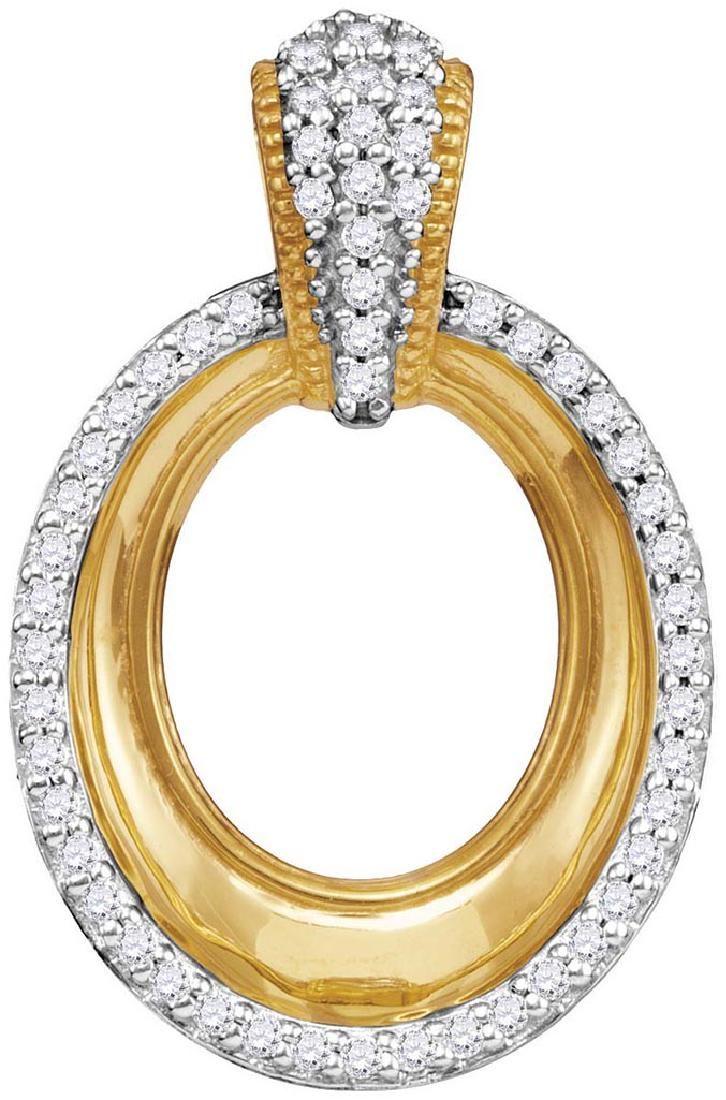 10kt Yellow Gold Womens Round Diamond Framed Outline Ov