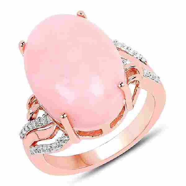 14K Rose Gold Plated 11.14 CTW Genuine Pink Opal and Wh