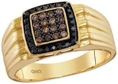 10kt Yellow Gold Mens Round Cognacbrown Black Colored