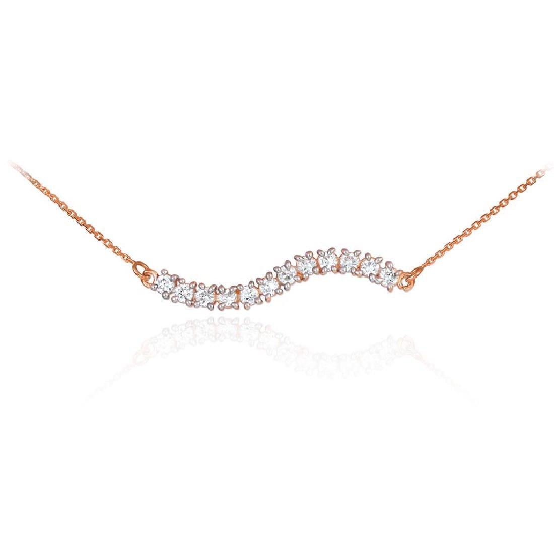 14K Rose Gold Cz Journey Necklace
