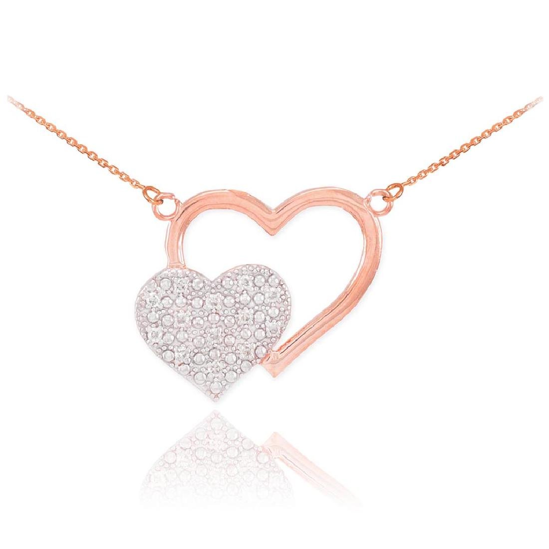 14k Rose Gold Pave Diamond Twin Hearts Necklace