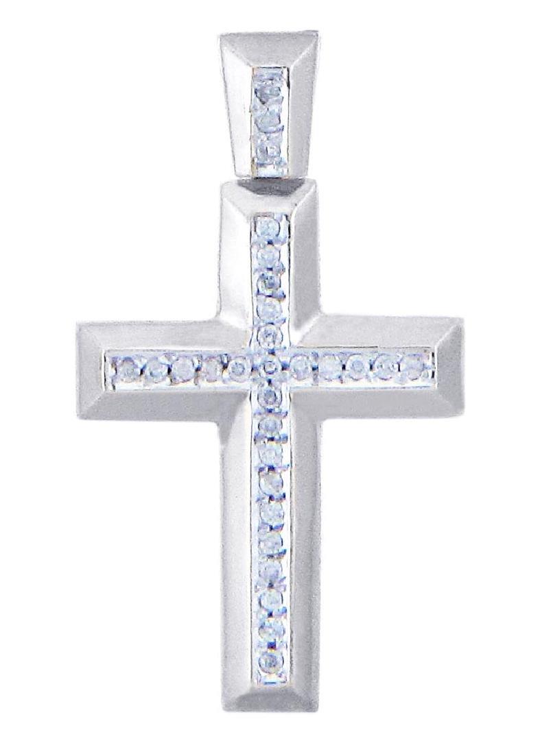 10K White Gold Cross Diamond Pendant