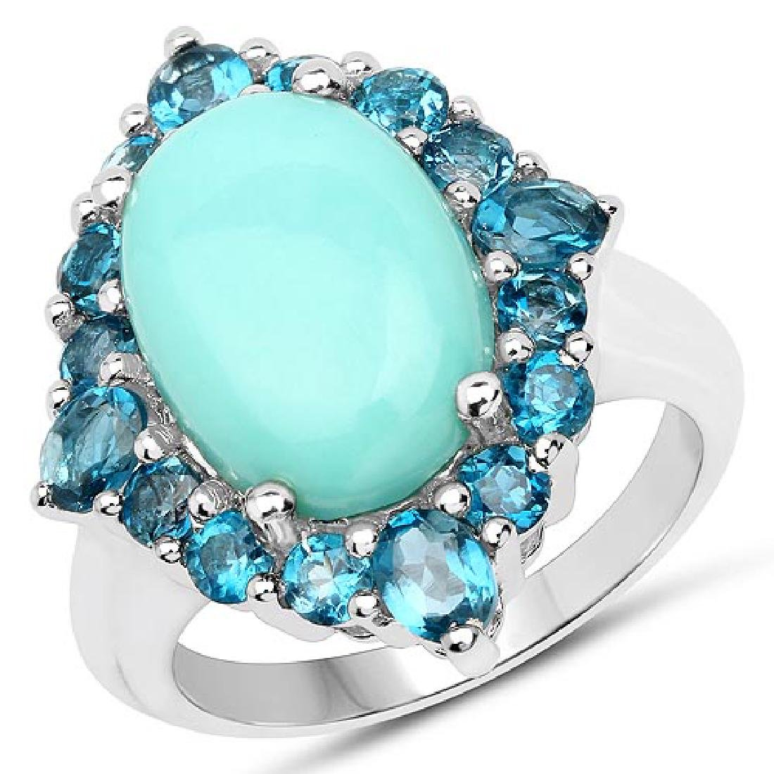 6.63 CTW Genuine Turquoise and London Blue Topaz .925 S