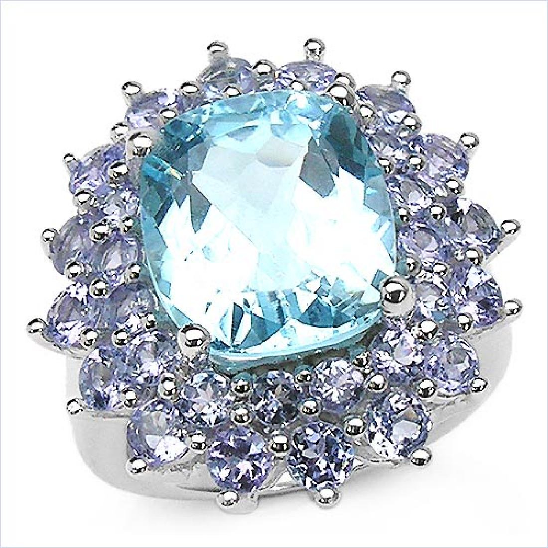 12.20 ct. t.w. Blue Topaz and Tanzanite Ring in Sterlin