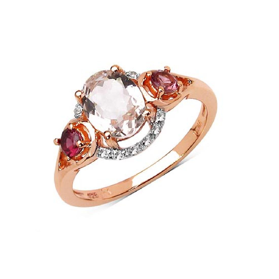 14K Rose Gold Plated 1.40 CTW Genuine Morganite Pink To