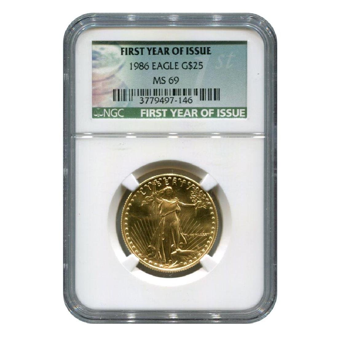 Certified American $25 Gold Eagle 1986 MS69 NGC First Y