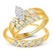10k Yellow Gold Diamond Cluster Bridal Wedding Trio Men