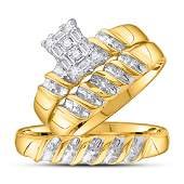 10k Yellow Gold His Hers Round Diamond Cluster Matching