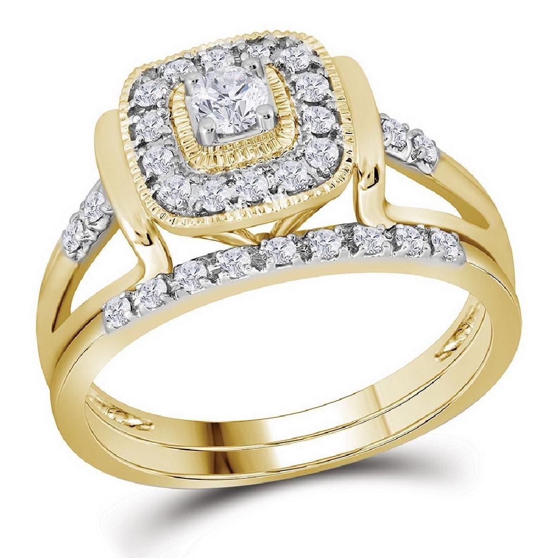 10kt Yellow Gold Round Diamond Square Bridal Wedding Ri