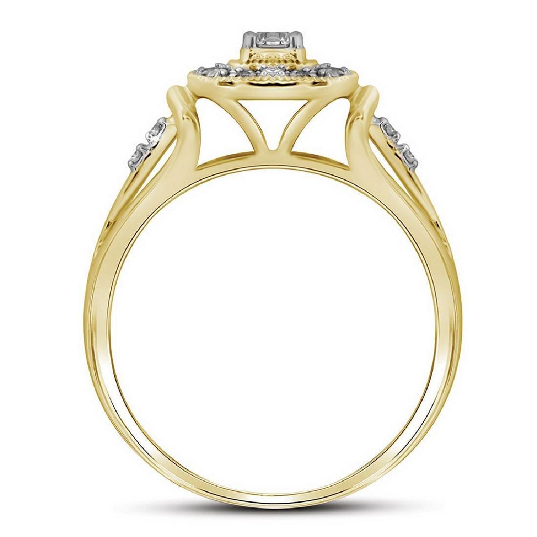 10kt Yellow Gold Round Diamond Square Bridal Wedding Ri - 2