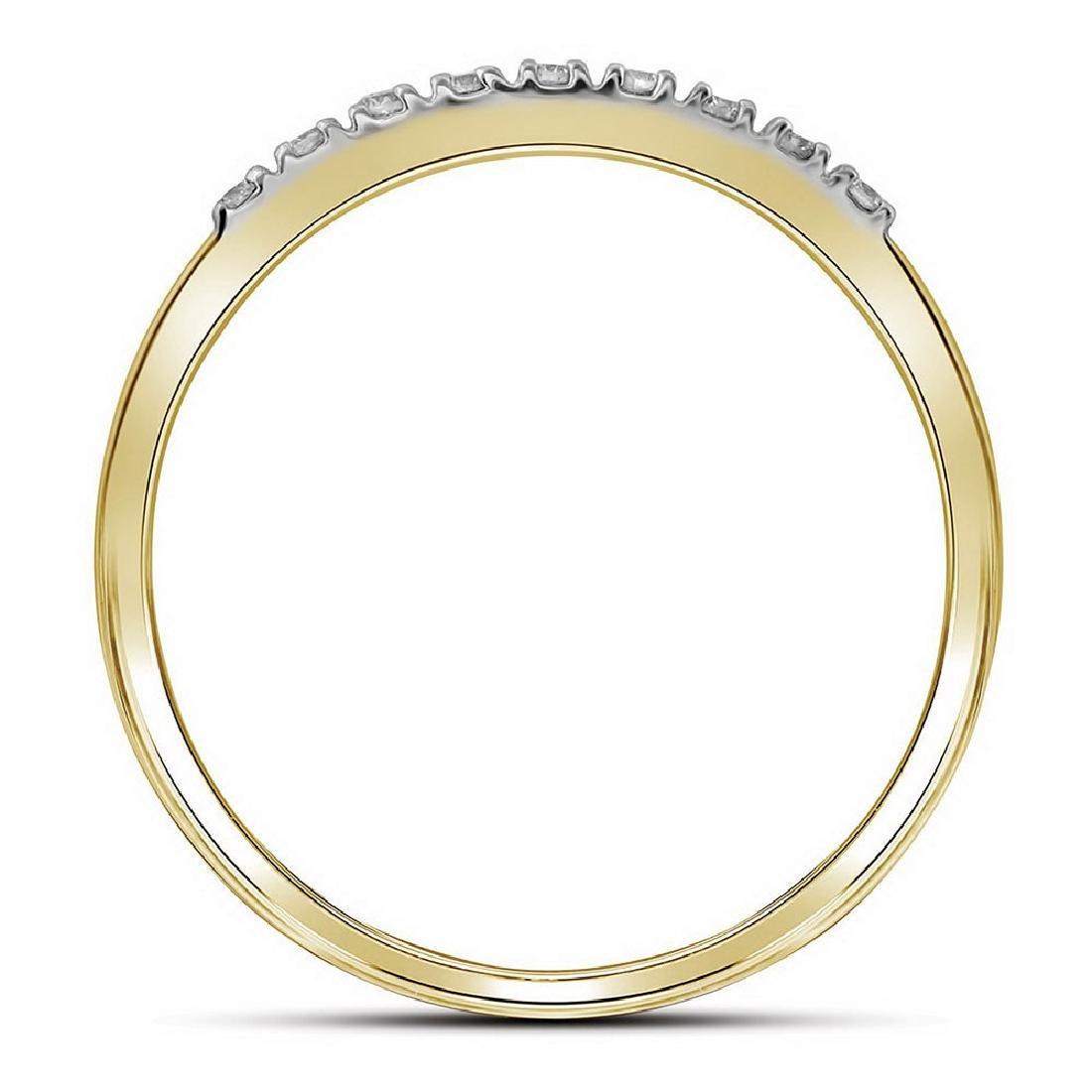 10kt Yellow Gold Round Diamond Square Bridal Wedding Ri - 3