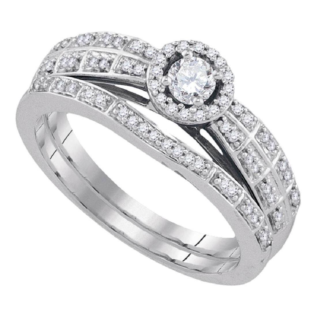 10k White Gold Round Diamond Halo Bridal Wedding Engage