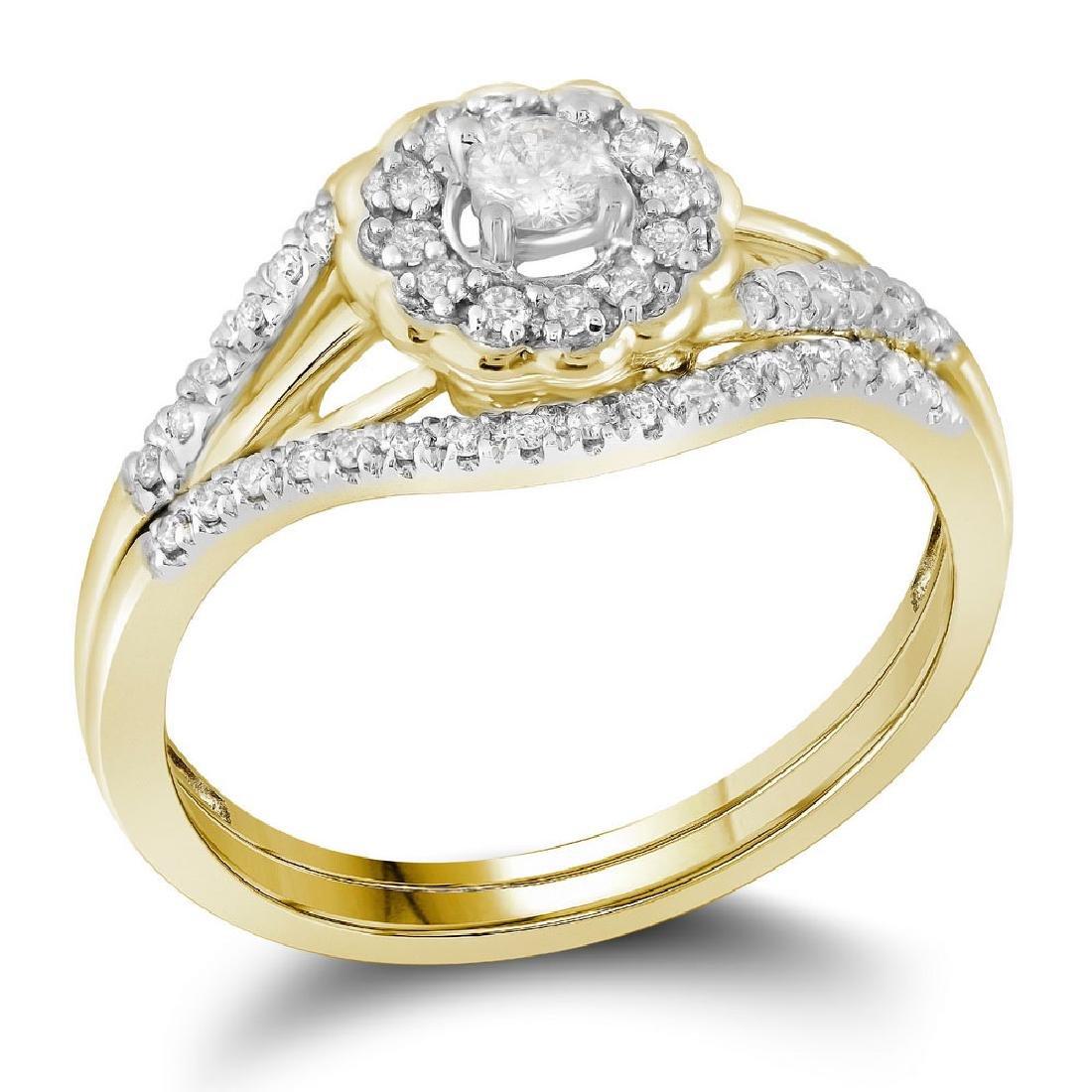 10k Yellow Gold Round Diamond Bridal Wedding Engagement