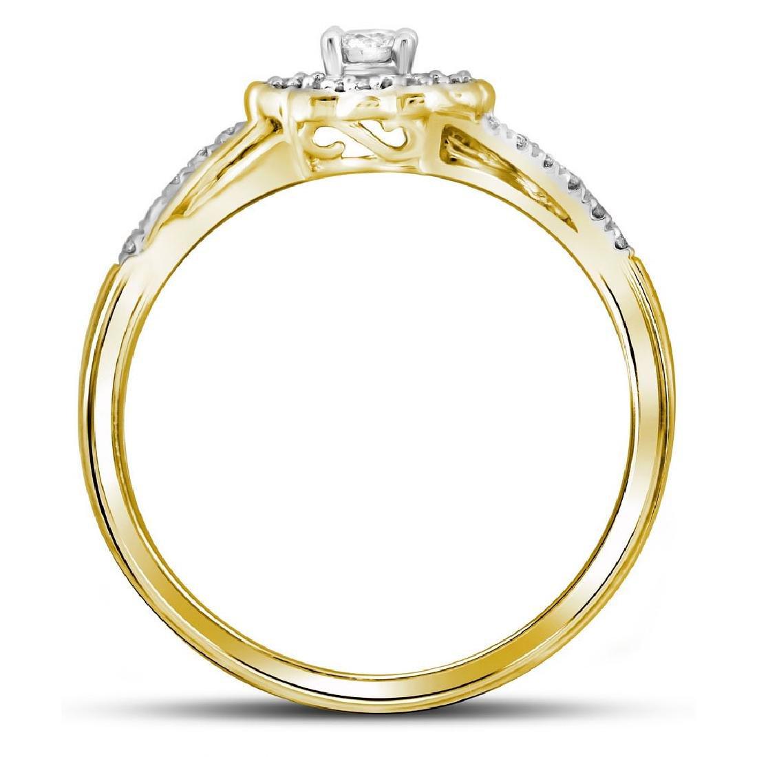 10k Yellow Gold Round Diamond Bridal Wedding Engagement - 2