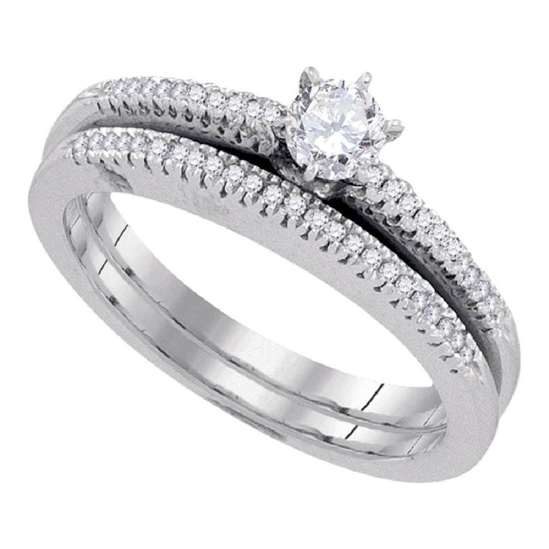 10k White Gold Round Diamond Solitaire Bridal Wedding E