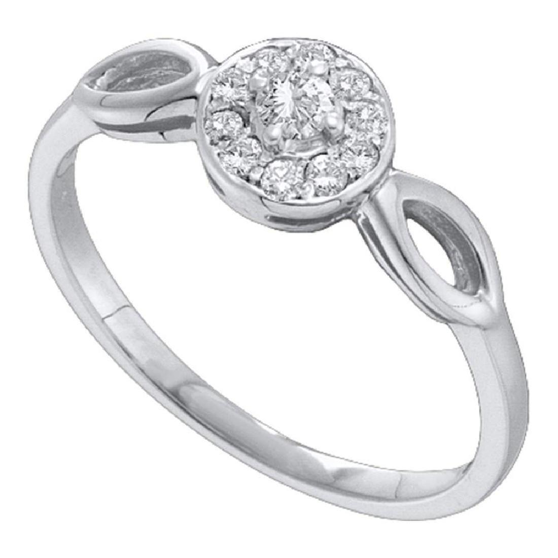 10k White Gold Round Diamond Solitaire Promise Bridal E