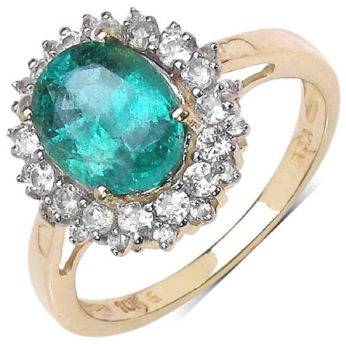 2.45 Carat Genuine Emerald 10K Yellow Gold Ring