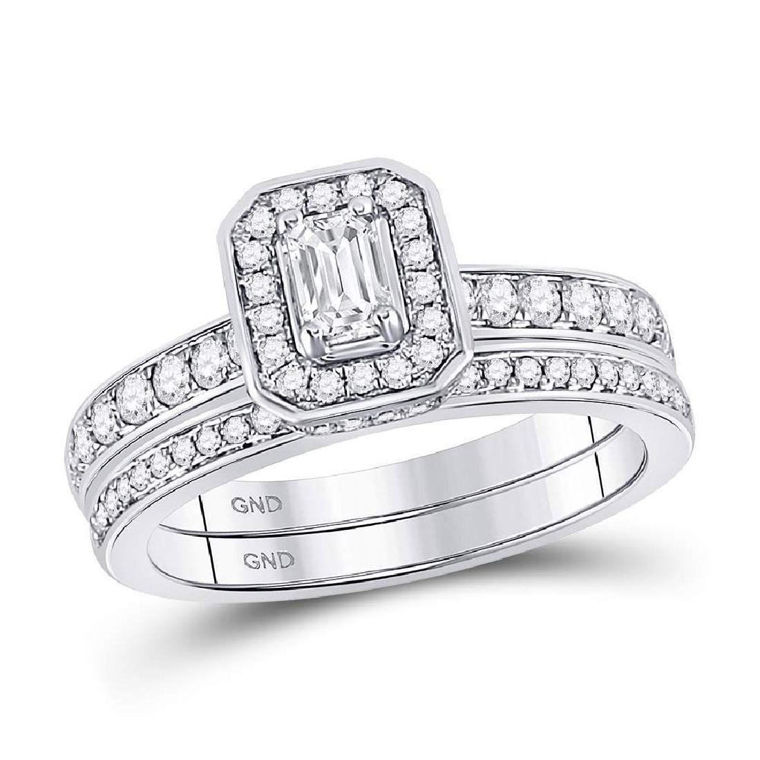 14kt White Gold Emerald Diamond Bridal Wedding Engageme