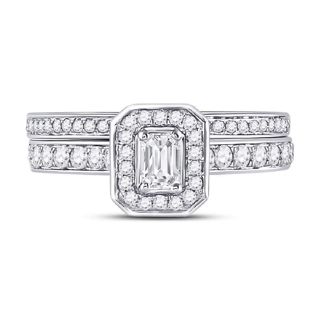 14kt White Gold Emerald Diamond Bridal Wedding Engageme - 2