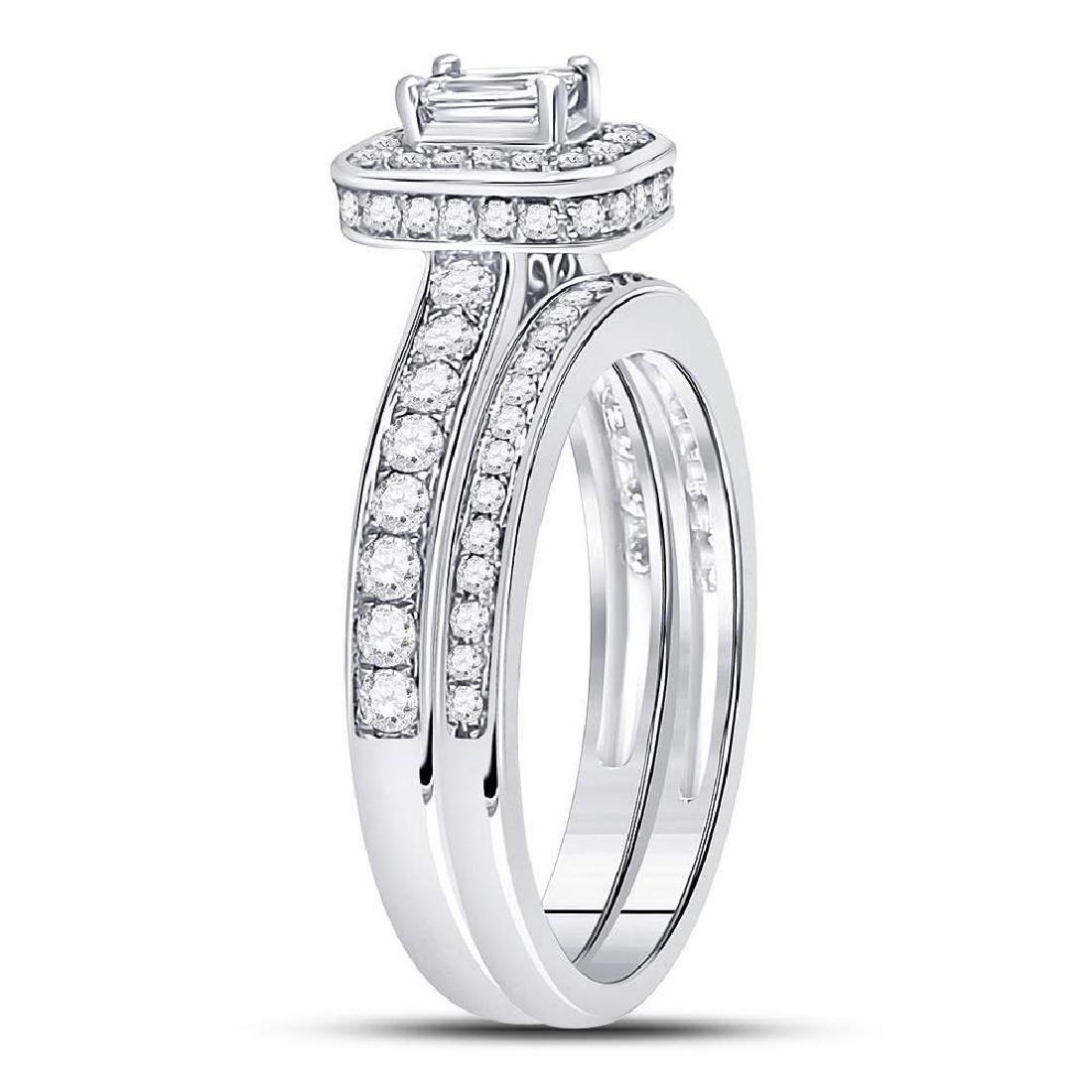 14kt White Gold Emerald Diamond Bridal Wedding Engageme - 3