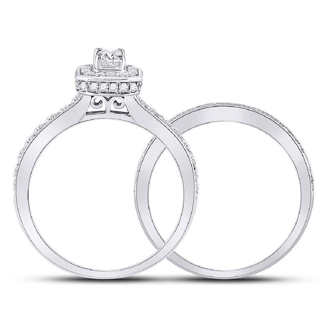 14kt White Gold Emerald Diamond Bridal Wedding Engageme - 4