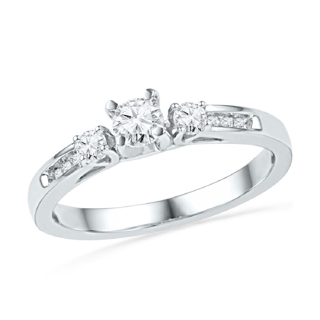 10k White Gold Round Diamond 3-stone Bridal Wedding Eng