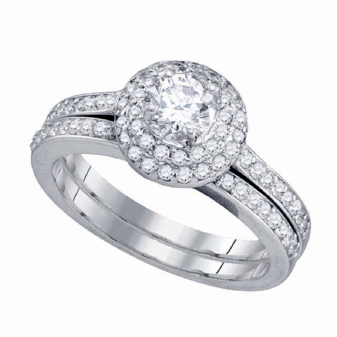 14kt White Gold Round Diamond Bridal Wedding Engagement