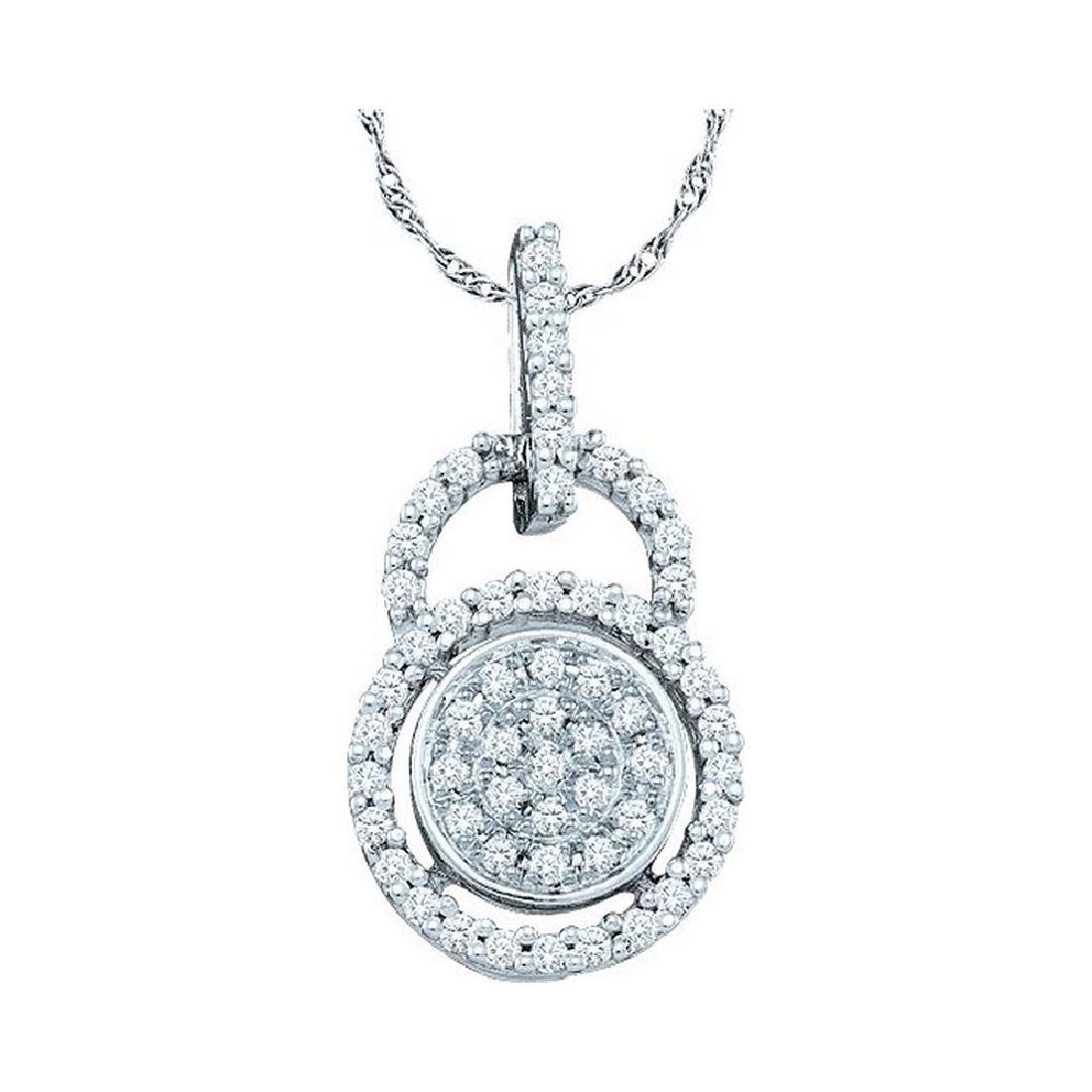 10kt White Gold Womens Round Diamond Circle Frame Clust