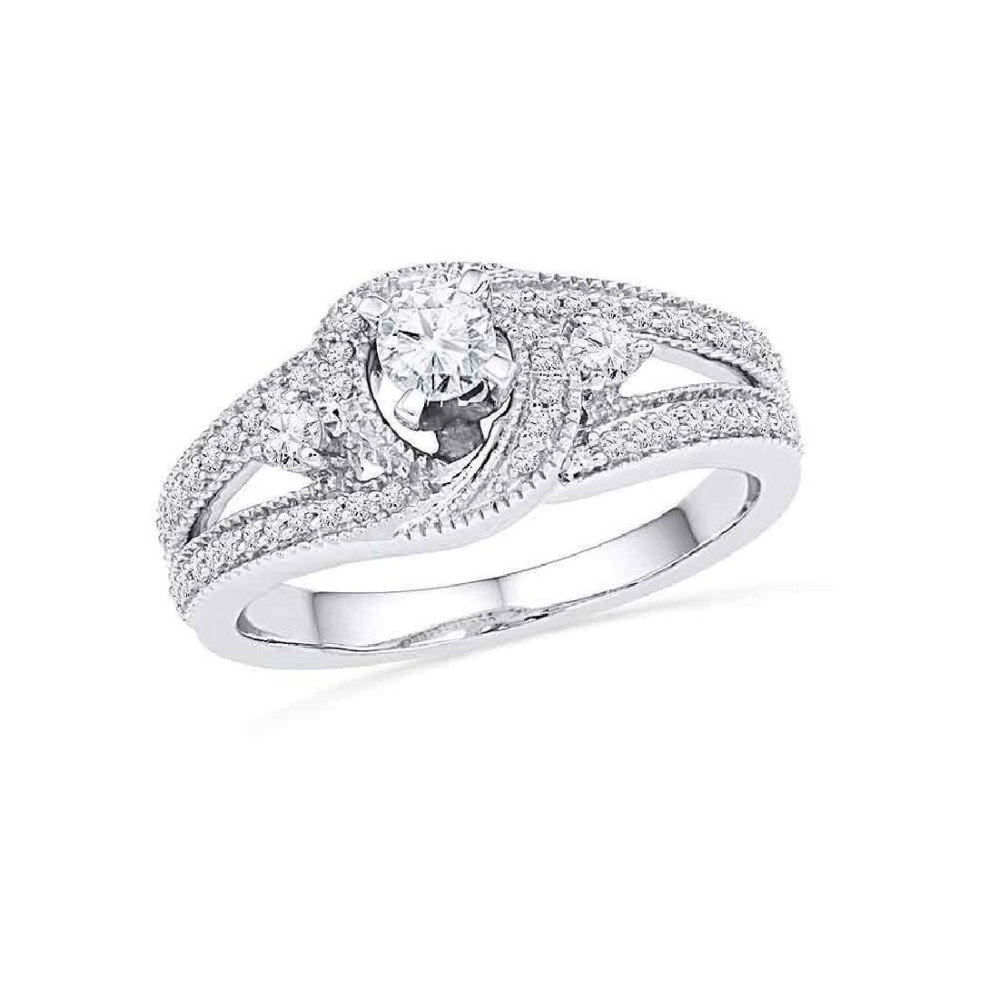 10k White Gold Round Diamond Bridal Wedding Engagement