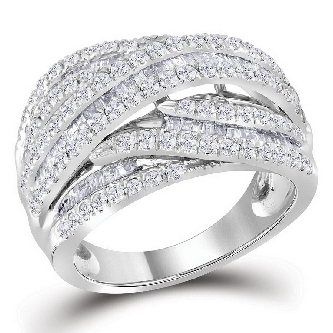 10kt White Gold Womens Baguette Round Diamond Crossover