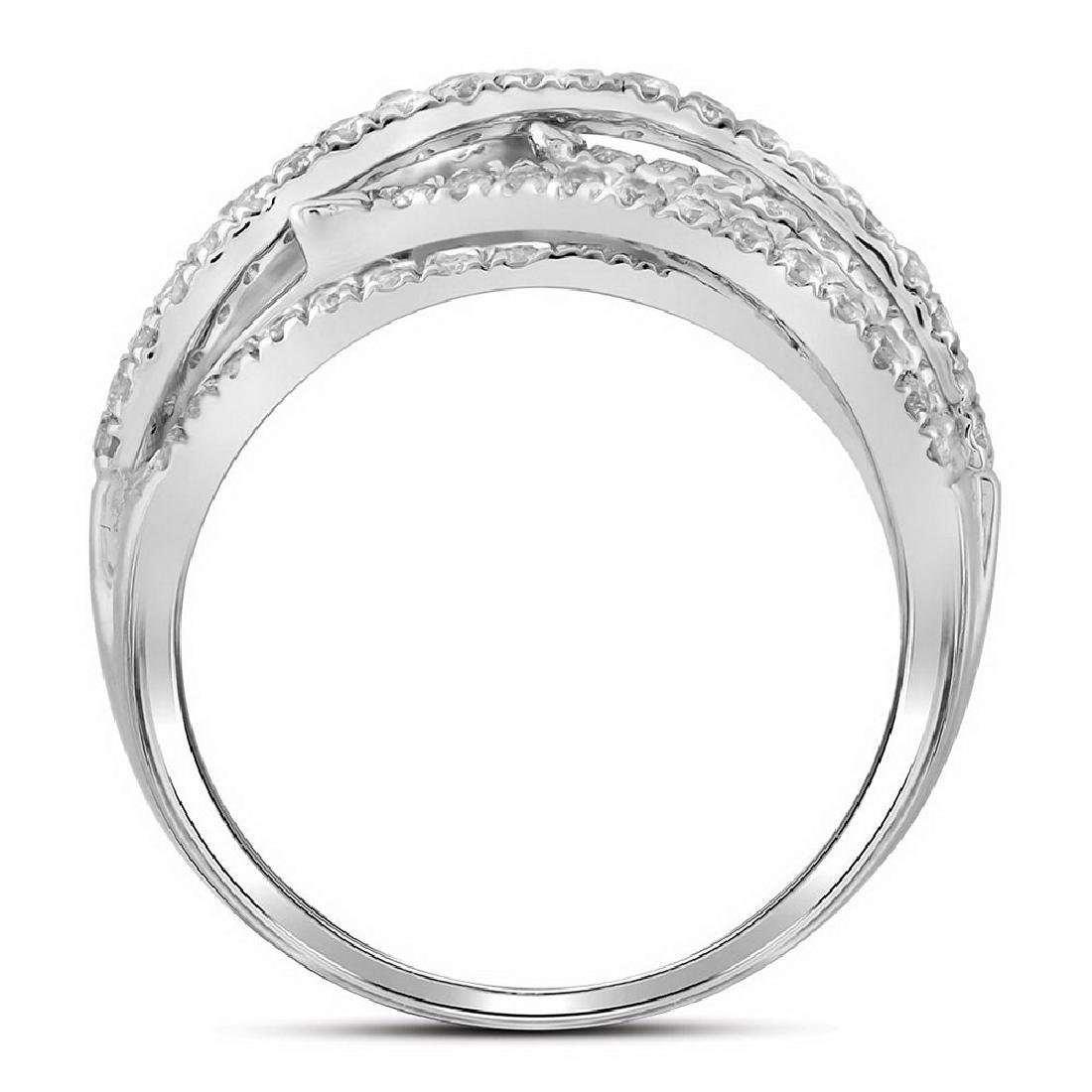 10kt White Gold Womens Baguette Round Diamond Crossover - 2