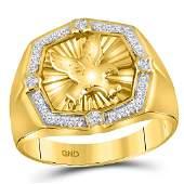 10k Yellow Gold Mens Round Diamond Eagle Cluster Fashio