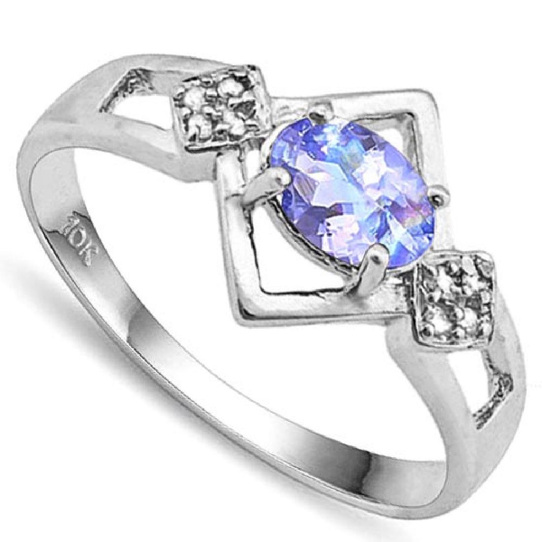 0.7 CTW GENUINE TANZANITE & GENUINE DIAMOND (8 PCS) 10K