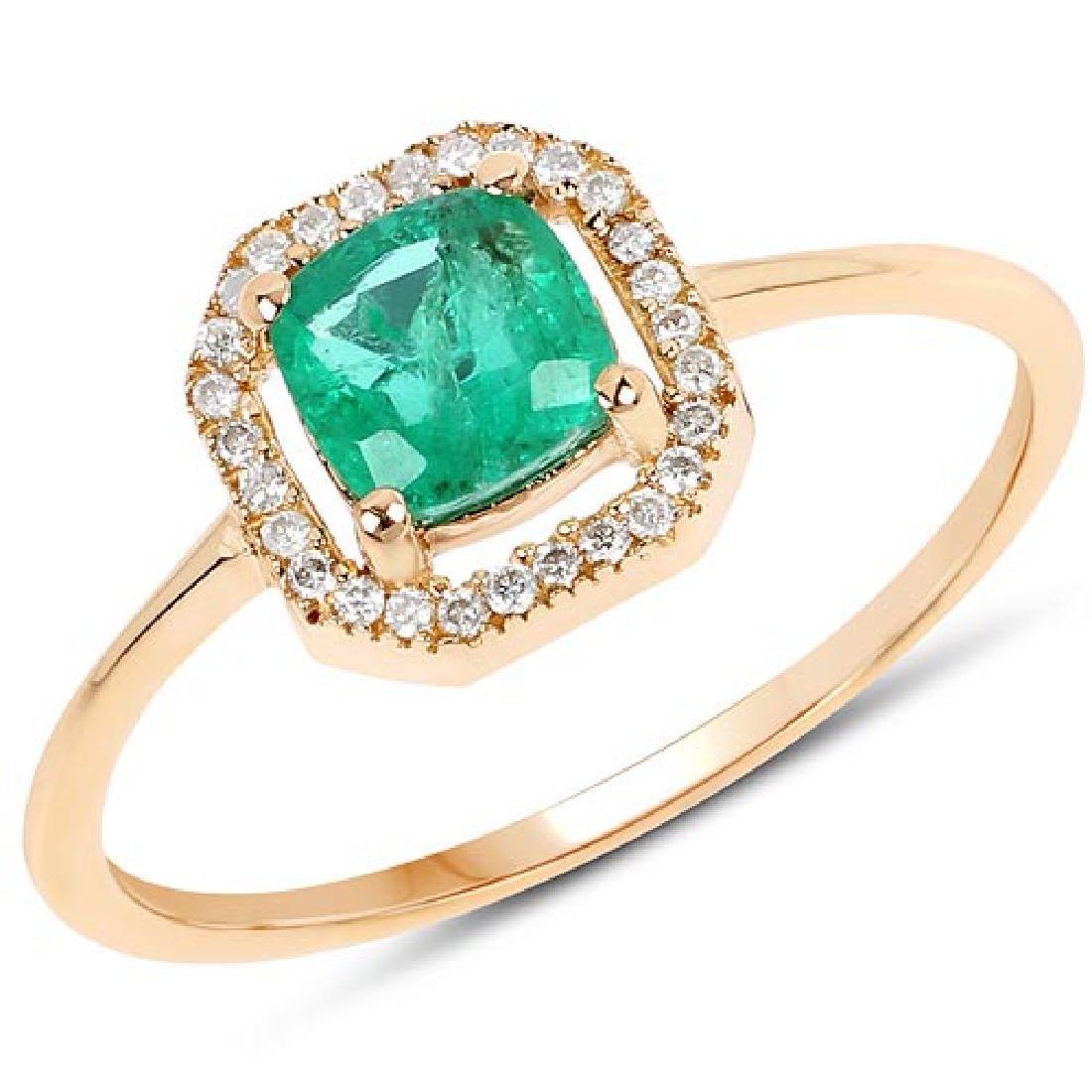 0.63 CTW Genuine Zambian Emerald and White Diamond 14K